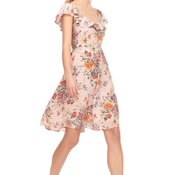 7d78c7e852961 REBECCA TAYLOR MARLENA FLORAL SILK RUFFLE DRESS